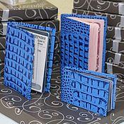 Комплекты аксессуаров ручной работы. Ярмарка Мастеров - ручная работа Подарочный набор из кожи Синий кайман. Handmade.