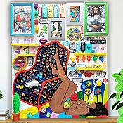 Картины и панно handmade. Livemaster - original item Pop art Sculpture painting canvas. Original Black woman art collage. Handmade.