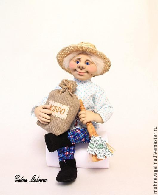 """Сказочные персонажи ручной работы. Ярмарка Мастеров - ручная работа. Купить Текстильная кукла """"Домовой"""".. Handmade. Голубой, интерьерная кукла"""