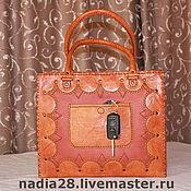 Классическая сумка ручной работы. Ярмарка Мастеров - ручная работа Рыжая сумка из кожи с ручной вышивкой. Handmade.