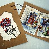 Картины и панно handmade. Livemaster - original item Painting: painting watercolor pastel postcard FLOWER and STREET. Handmade.