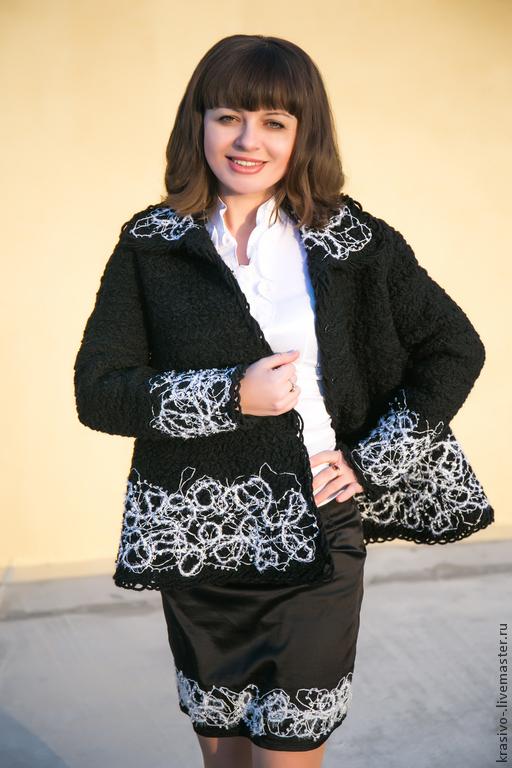 """Пиджаки, жакеты ручной работы. Ярмарка Мастеров - ручная работа. Купить Пальто """"Трапеция"""". Handmade. Черный, пальто демисезонное"""