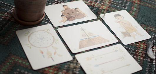 """Детские открытки ручной работы. Ярмарка Мастеров - ручная работа. Купить Открытки """"Индейцы"""". Handmade. Открытка, дети, подарок"""