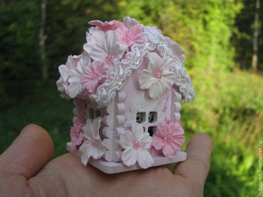 Миниатюра, кукольная миниатюра, домик Фея, с подсветкой, кукольный домик, миниатюра ночник, мини домик, подарок для девочки, миниатюра сад, мини сад, подарок девочке, миниатюра домик, розовый,