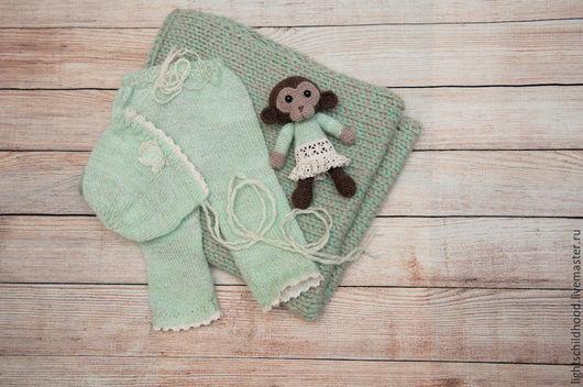 Для новорожденных, ручной работы. Ярмарка Мастеров - ручная работа. Купить Костюм для новорожденной, штанишки и шапочка для фотосессии. Handmade. Мятный