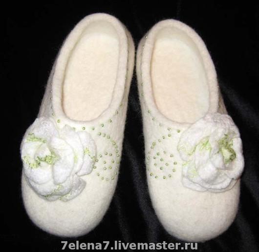 """Обувь ручной работы. Ярмарка Мастеров - ручная работа. Купить Тапочки """"Бьянка"""". Handmade. Белый, Тапочки ручной работы, кожа"""