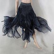 """Одежда ручной работы. Ярмарка Мастеров - ручная работа Юбка стиль  бохо на запахе """"Чёрная медуза""""  .. Handmade."""