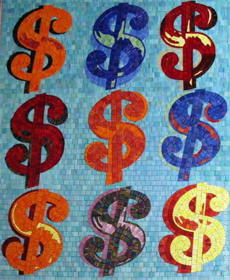 Репродукции ручной работы. Ярмарка Мастеров - ручная работа. Купить Доллары, мозаичная копия графической работы Энди Уорхолла. Handmade.