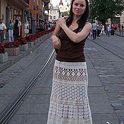 Одежда handmade. Livemaster - original item Crochet skirt with linen lace