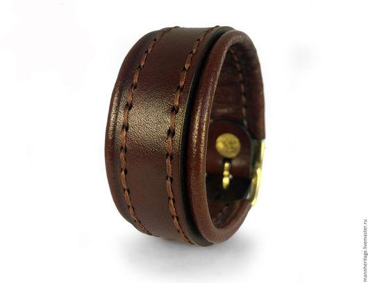 Браслеты ручной работы. Ярмарка Мастеров - ручная работа. Купить Кожаный браслет BACKING - коричневый. Handmade. Натуральная кожа