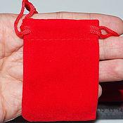 Материалы для творчества handmade. Livemaster - original item Velvet pouch, red, 6.5 x 5 cm. Handmade.