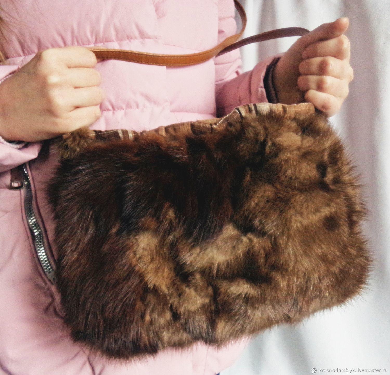 Сумка из норки.Меховая сумка.Рыжая сумка.Сумка маленькая.Сумка из меха, Классическая сумка, Москва,  Фото №1