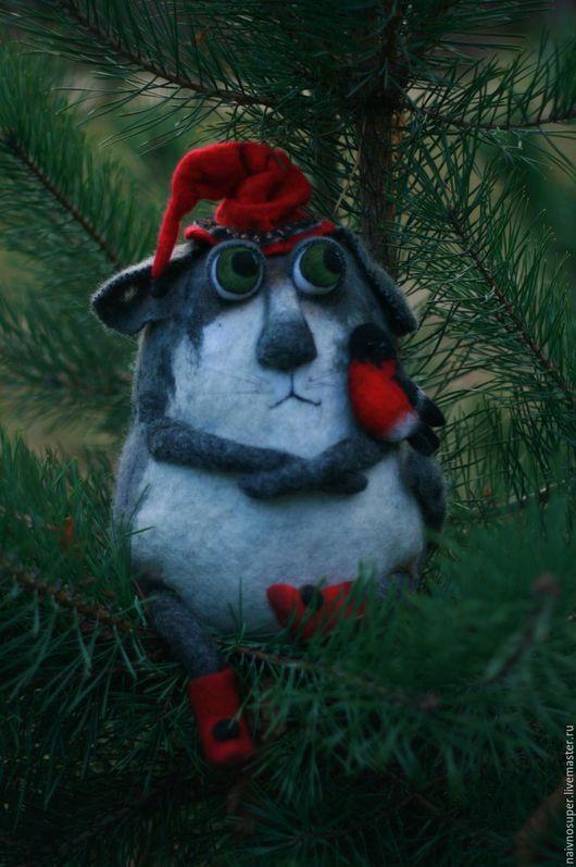 Игрушки животные, ручной работы. Ярмарка Мастеров - ручная работа. Купить Кот и снегирь (игрушка из шерсти). Handmade. Котики