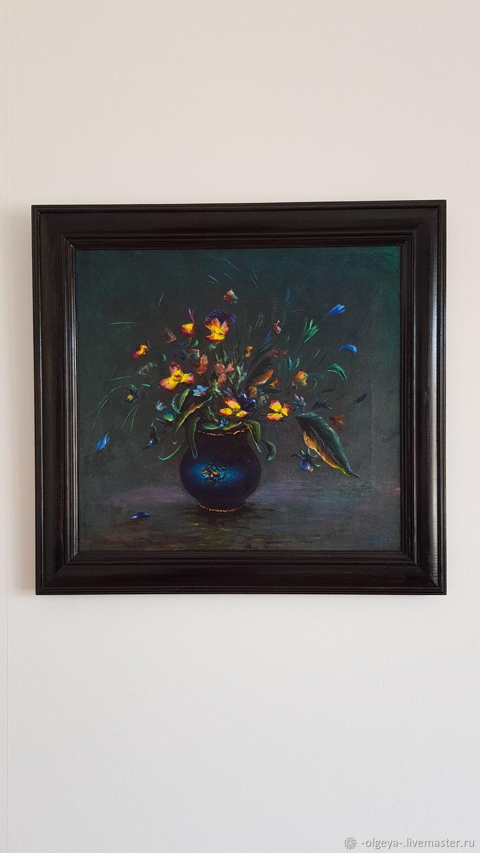 Картина маслом Цветы на темном фоне, Картины, Ревда,  Фото №1