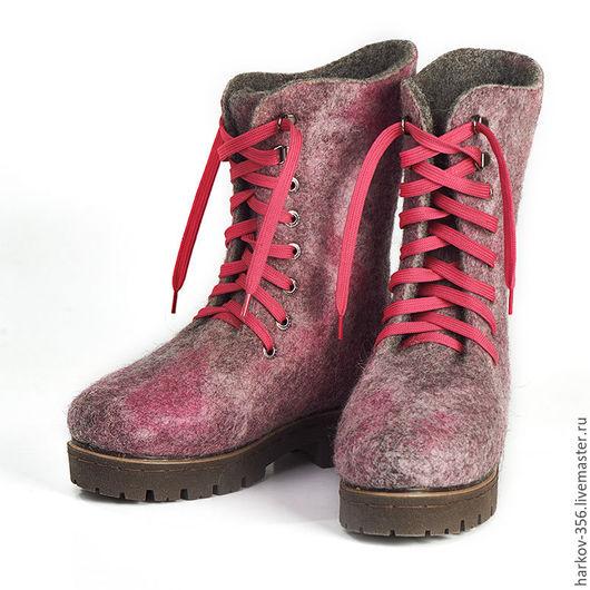 Обувь ручной работы. Ярмарка Мастеров - ручная работа. Купить Ботинки валяные. Handmade. Фуксия, Валяние, обувь на заказ