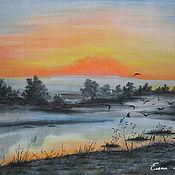 """Картины и панно ручной работы. Ярмарка Мастеров - ручная работа картина """"Утро туманное"""". Handmade."""