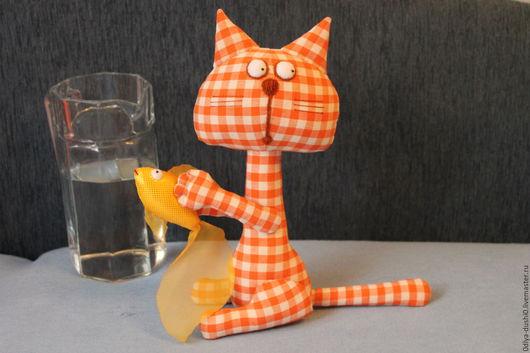 Игрушки животные, ручной работы. Ярмарка Мастеров - ручная работа. Купить Кот Игнат. Handmade. Рыжий, ручная работа, рыбка