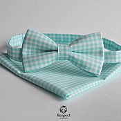 Аксессуары handmade. Livemaster - original item Tie mint plaid pocket square Pasha mint Provence. Handmade.