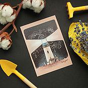 Открытки ручной работы. Ярмарка Мастеров - ручная работа Почтовая открытка - маяк. Handmade.