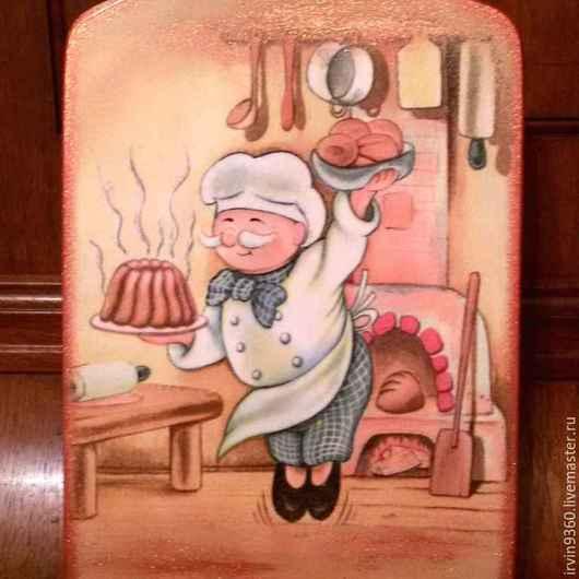 """Кухня ручной работы. Ярмарка Мастеров - ручная работа. Купить доска разделочная """"Поваренок"""". Handmade. Разноцветный, доска декупаж, кухня"""
