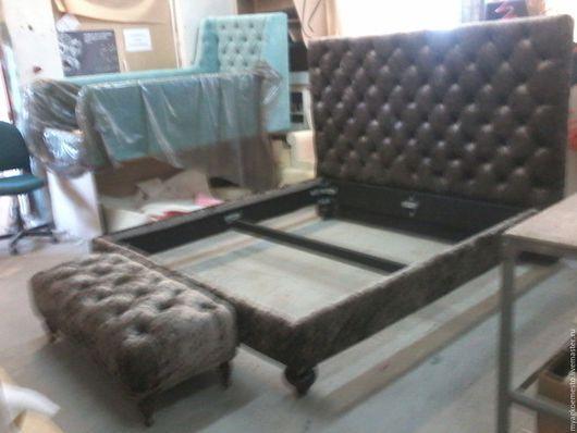 """Мебель ручной работы. Ярмарка Мастеров - ручная работа. Купить Кровать """"Брют"""". Handmade. Бежевый, коричневый, красный, ткань"""