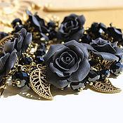 Украшения ручной работы. Ярмарка Мастеров - ручная работа Браслет с черными розами. Handmade.