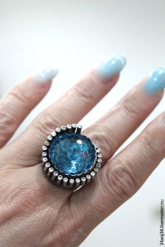 """Кольца ручной работы. Ярмарка Мастеров - ручная работа. Купить Кольцо """" Средиземноморье """". Handmade. Голубой, шикарный подарок"""