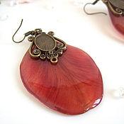 Украшения handmade. Livemaster - original item Resin Earrings with Real Red Tulip Petals Botany ECO. Handmade.