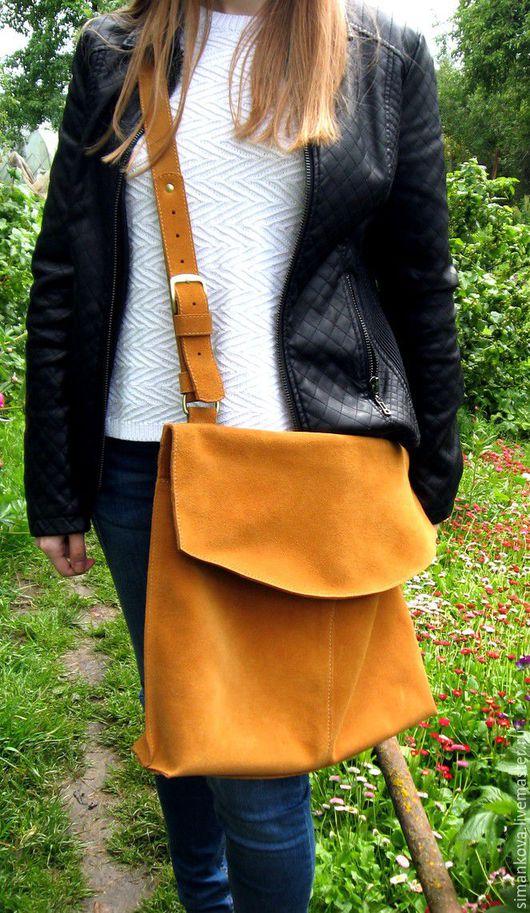 Женские сумки ручной работы. Ярмарка Мастеров - ручная работа. Купить Итальянский шик, большая. Handmade. Рыжий, замша натуральная
