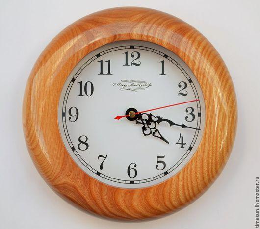 Часы для дома ручной работы. Ярмарка Мастеров - ручная работа. Купить Настенные часы из ясеня. Handmade. Золотой
