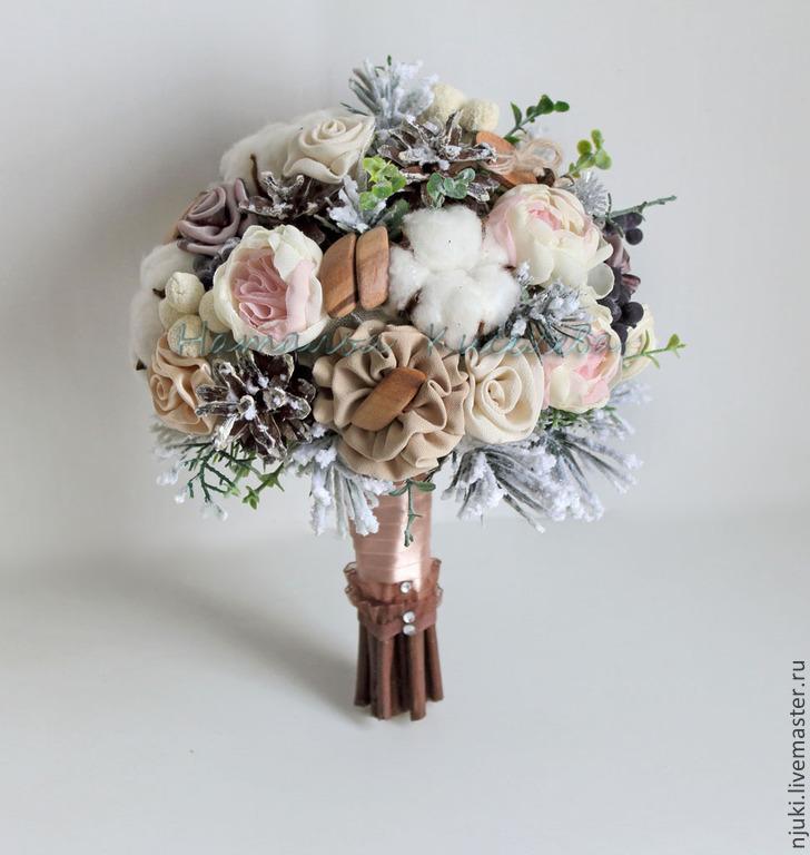 Букет невесты бежевый фото
