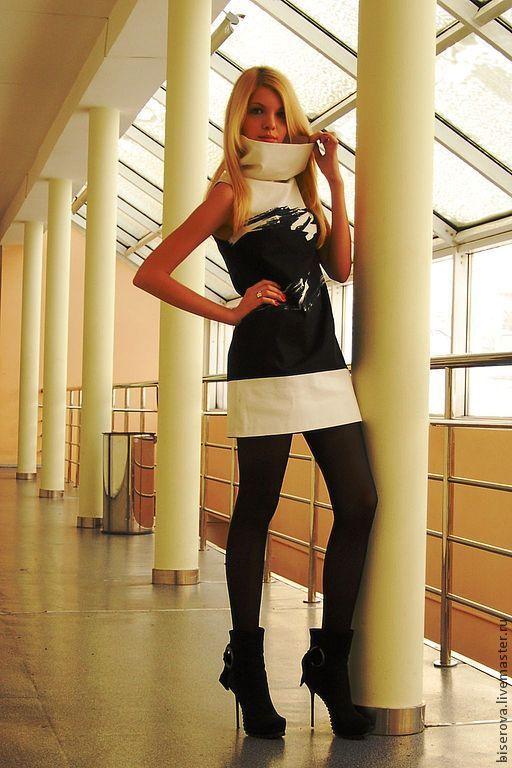 Платья ручной работы. Ярмарка Мастеров - ручная работа. Купить Мини платье трапеция. Handmade. Чёрно-белый, чёрно-белый