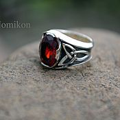 Украшения handmade. Livemaster - original item Ring with garnet and Triquetrum. Handmade.