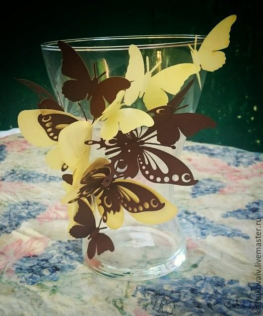 Вазы ручной работы. Ярмарка Мастеров - ручная работа. Купить Ваза с бабочками. Handmade. Бабочки, оригинальный дизайн, нежность, бумага