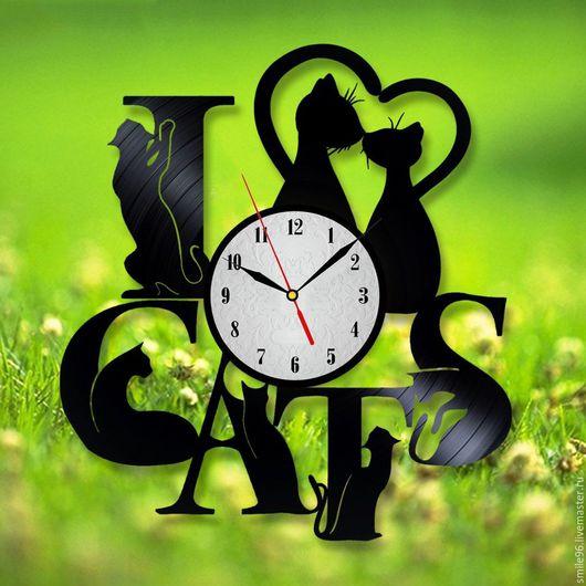 """Часы для дома ручной работы. Ярмарка Мастеров - ручная работа. Купить Часы из пластинки """"Коты"""". Handmade. Комбинированный, кот, котик"""