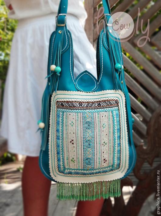 """Женские сумки ручной работы. Ярмарка Мастеров - ручная работа. Купить Уникальная бирюзовая кожаная сумка """"Turquoise Hmong"""". Handmade."""