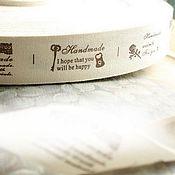 Материалы для творчества ручной работы. Ярмарка Мастеров - ручная работа Лента швейная этикетка Ручная Работа 25 мм. Handmade.