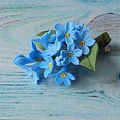 Украшения handmade. Livemaster - original item Hairpin with a forget-me-nots polymer clay. Handmade.