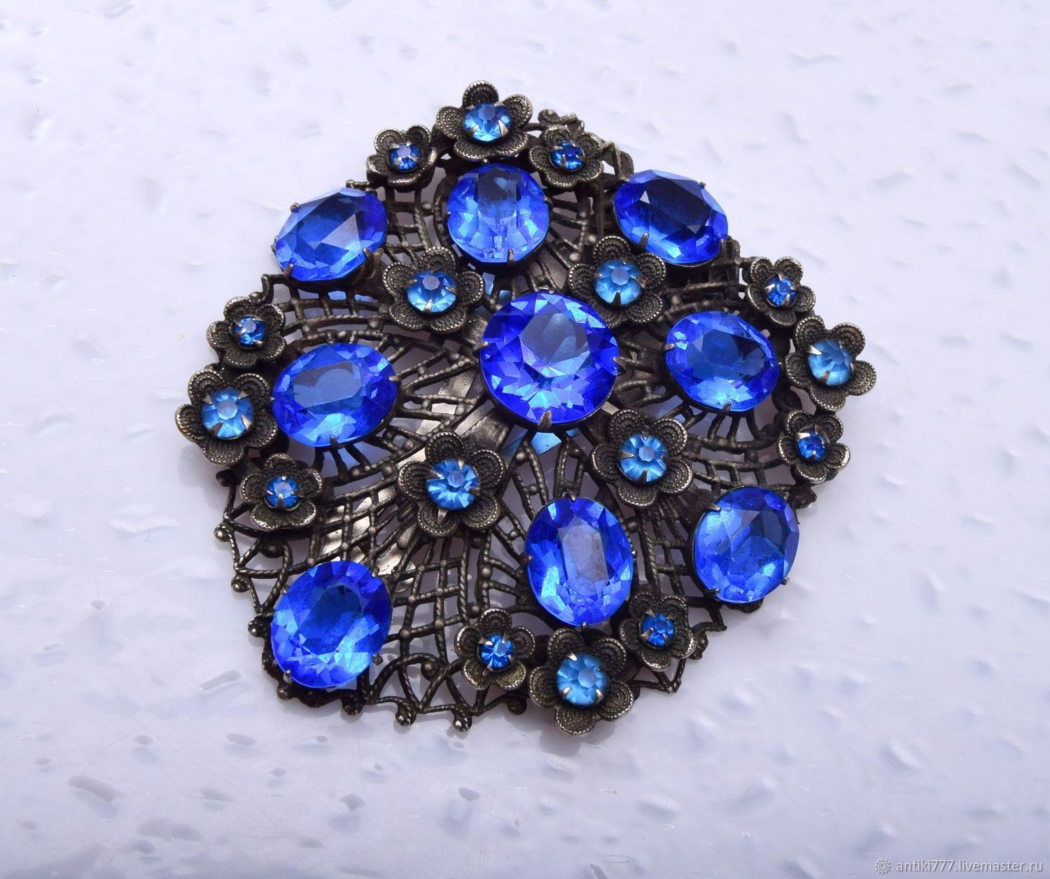 Vintage Dress clip with blue stones, Vintage brooches, Moscow,  Фото №1