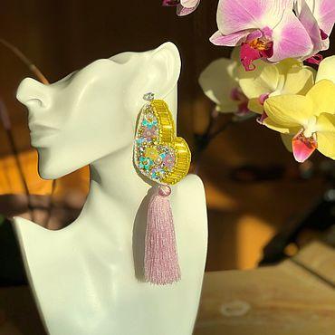 Украшения ручной работы. Ярмарка Мастеров - ручная работа Желтые серьги из серии «Sparkling Batterflies» с розовыми кисточками. Handmade.