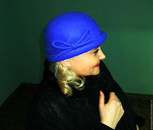 Шляпы ручной работы. Ярмарка Мастеров - ручная работа. Купить Женская шляпка-котелок Чарли. Handmade. Тёмно-синий, зима