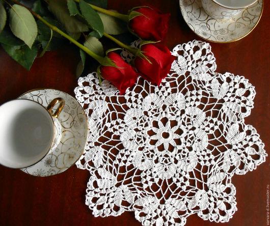 Текстиль, ковры ручной работы. Ярмарка Мастеров - ручная работа. Купить Ажурная салфетка крючком. Handmade. Белый, салфетка крючком