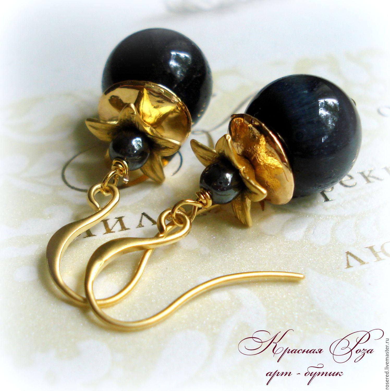 Earrings 'Golden flower', Earrings, Stupino,  Фото №1