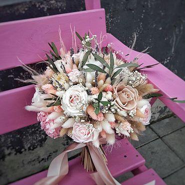 Свадебный салон ручной работы. Ярмарка Мастеров - ручная работа Свадебный букет из сухоцветов и стабилизированных цветов. Handmade.