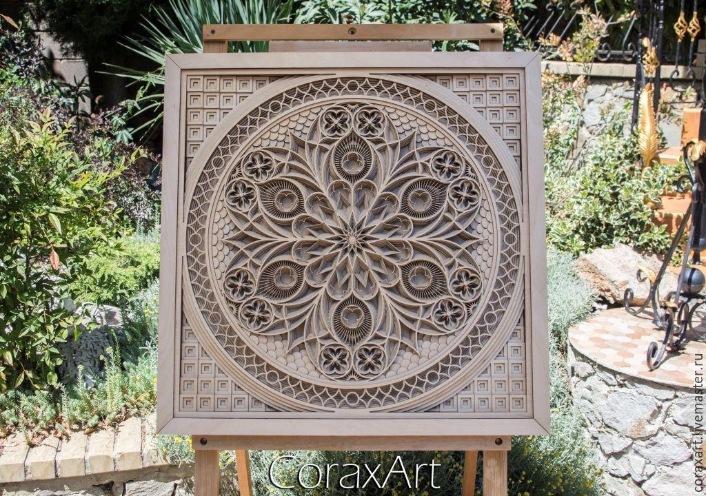 CoraxArt : Wood Wall Art ` Gothic Rose `, Wood Art,Luxury Wedding Gift,Decor,Wall Decor,Multi layer Sculpture,Engraving Wood,Laser Artwork,Laser cut