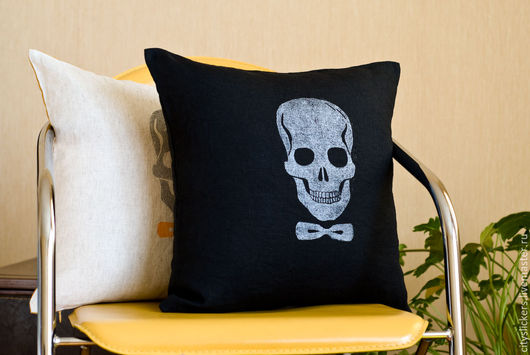 Текстиль, ковры ручной работы. Ярмарка Мастеров - ручная работа. Купить Черная метка - чехол для декоративной подушки. Handmade. Черный