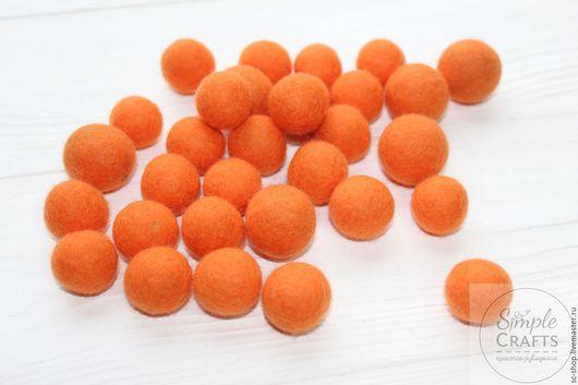 Валяние ручной работы. Ярмарка Мастеров - ручная работа. Купить ОЖИДАЕМ Войлочный шарик оранжевый (шарик из шерсти, бусина из шерсти). Handmade.