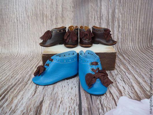 Одежда для кукол ручной работы. Ярмарка Мастеров - ручная работа. Купить Ботиночки для антик.куклы узконосые на каблучках. Handmade. коричневый