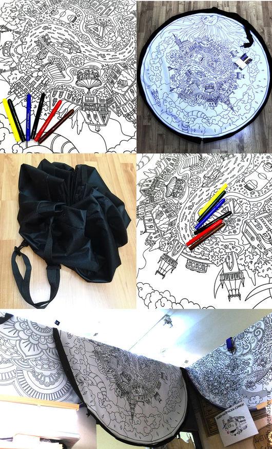 Детская ручной работы. Ярмарка Мастеров - ручная работа. Купить Коврик-рюкзак-раскраска Город. Handmade. Орнамент, рюкзак, пляж