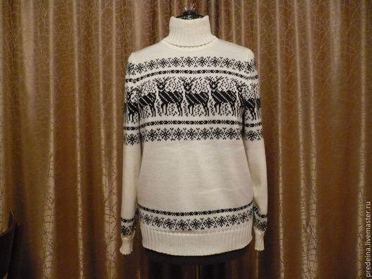 Кофты и свитера ручной работы. Ярмарка Мастеров - ручная работа. Купить свитер - северные олени. Handmade. Чёрно-белый